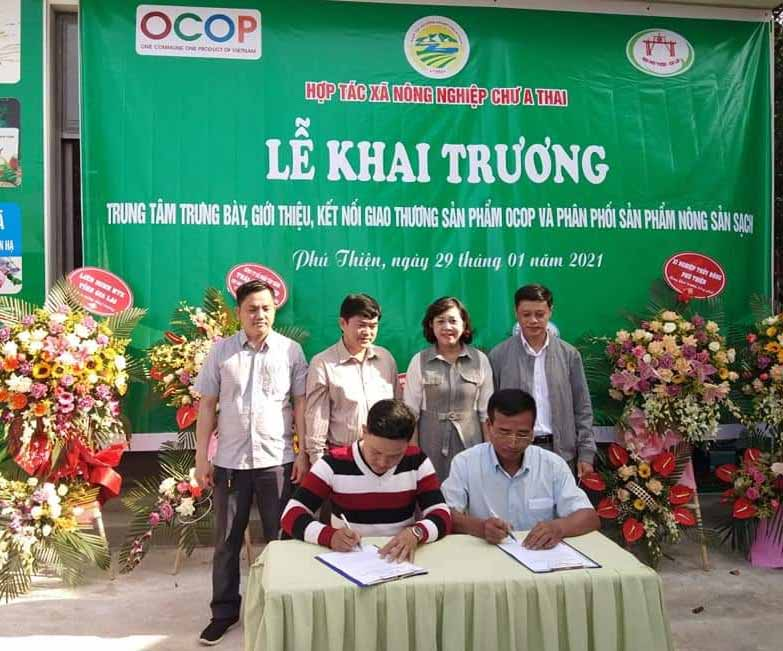 Ông Phạm Ngọc Nghĩa-Giám đốc HTX Nông nghiệp Chư A Thai giới thiệu sản phẩm gạo Phú Thiện. Ảnh: Vũ Chi